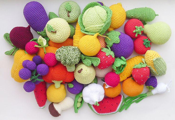 Crochet play food set (20 pcs) Crochet vegetables and fruit ,Birthday Present, eco-friendly toys,Pretend play ,Summer Fun,Preschool Toys by RainbowHappiness on Etsy https://www.etsy.com/listing/258200609/crochet-play-food-set-20-pcs-crochet