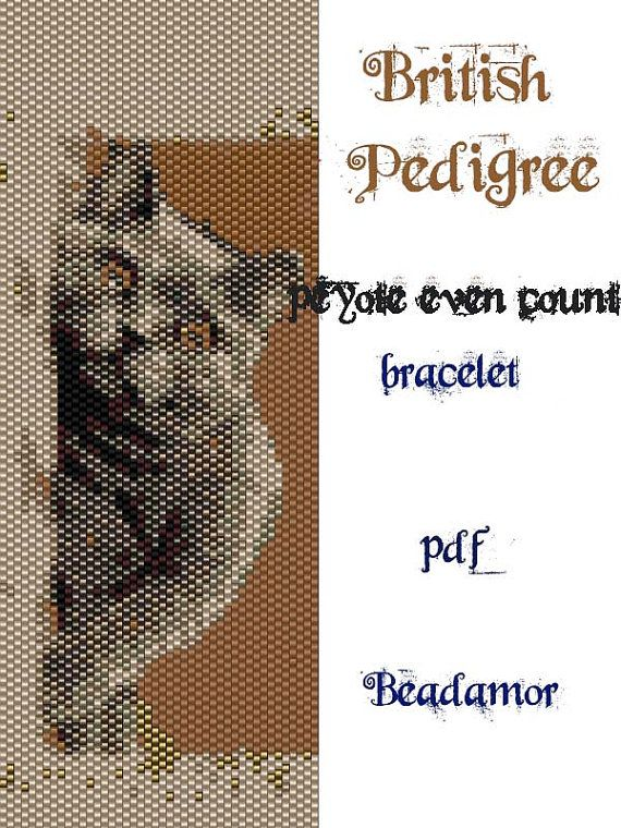Peyote Pattern for bracelet: British Pedigree Cat INSTANT