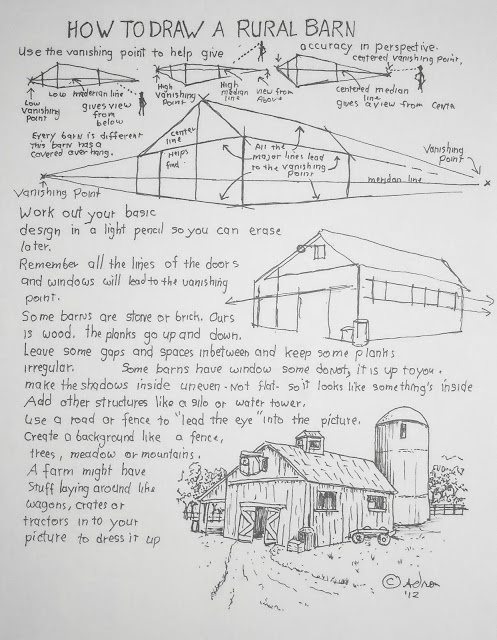 How To Draw A Rural Barn, Art Lesson. See the lesson at my blog, http://drawinglessonsfortheyoungartist.blogspot.com/2012/12/how-to-draw-rural-barn-art-lesson.html