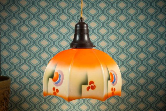 Art Deco pendant lamp 30s opaline glass by ThatVintageWorld