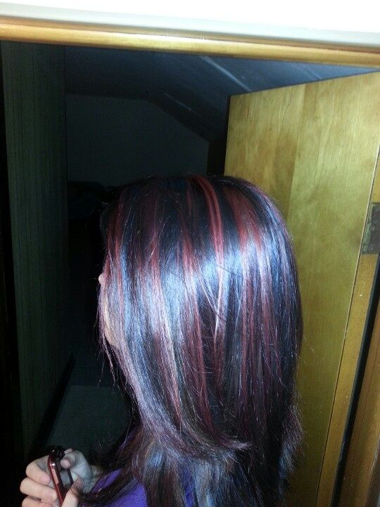 black cherry hair color | Black all over color with cherry red highlights | Hair and Nails