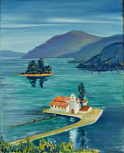 Tiny Monastery on Corfu, painting by Devon Artist Heatherbell Barlow. Made reknown worldwide in the Bond film: For your eyes only