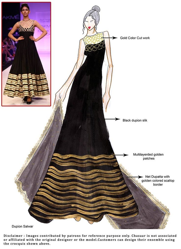 DIY Black Dupion Silk Floor Length Anarkali