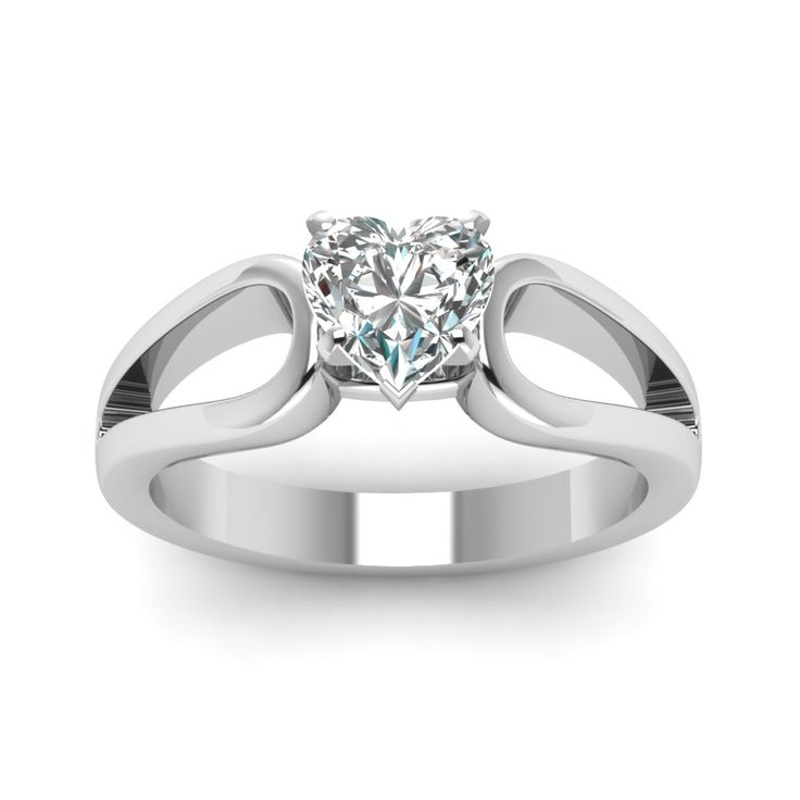 Loop Duet Heart Shaped diamond Solitaire Engagement Rings in 14K White Gold exclusively styled by Fascinating Diamonds