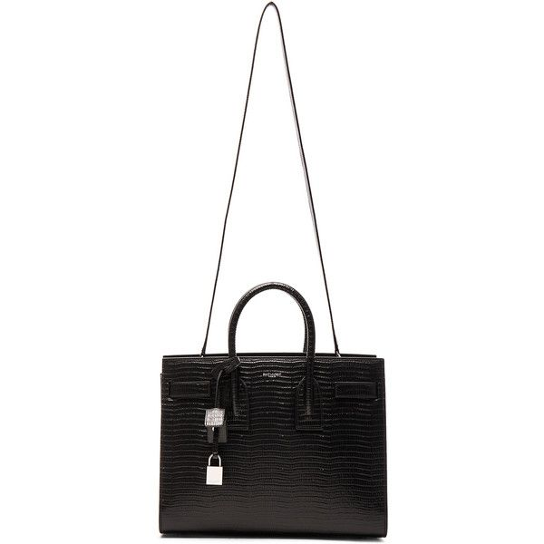 Saint Laurent Small Lizard Embossed Sac De Jour found on Polyvore featuring bags, handbags, purses, bolsas, embossed bag, white handbags, embossed handbags, yves saint laurent handbags and white bags
