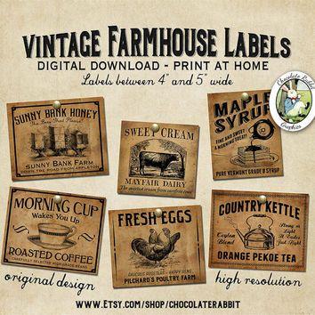 Vintage Country Farmhouse Primitive Prim Labels Digital Download Printable DIY Tags Scrapbook Graphics Collage Sheet Clip Art Retro Images