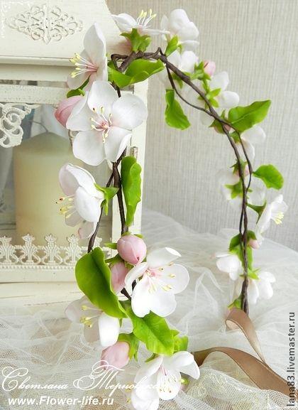 Венок с цветущей яблоней из полимерной глины - белый,яблоня,цветущая яблоня