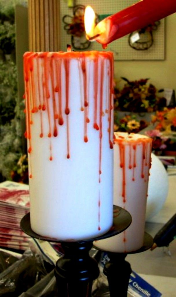 bloody candle how to (and lot's of other great Halloween Hacks!!)