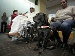 Thanks: Blind man Cecil Williams (L) speaks about his guide dog Orlando as his partner Cynthia holds the leash during a press conference in ...