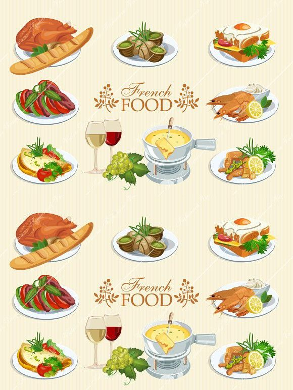 Set Of French Food Icons Cuisine French Food Food Icons Vegetable Design