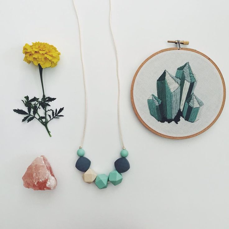 "Functional Nontoxic Jewellery® on Instagram: ""F i n n e g a n. Limited edition in mint. Get it before it's gone! Also, that embroidery? You have got to check out @sarahkbenning  Absolutely incredible handiwork. #mamagems"""