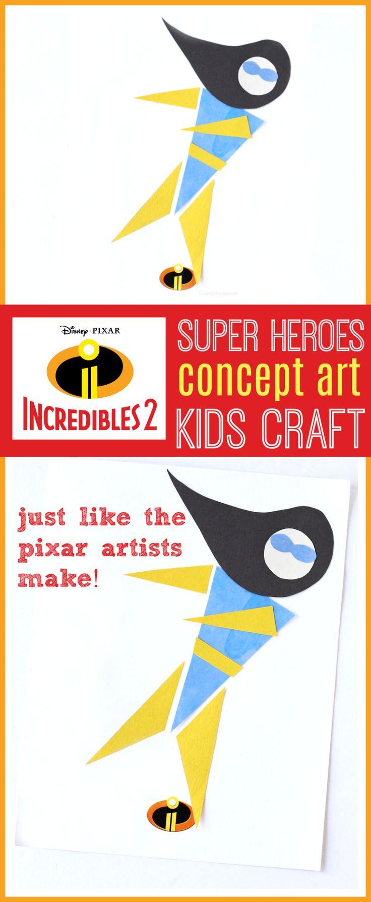 Unglaubliche 2 Kinder Bastelidee | DIY Pixar Concept Art Superhelden, genau wie die …   – Kids Crafts