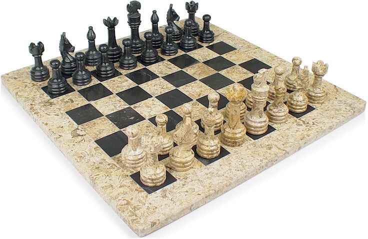 "Classic Coral Stone & Black Marble Chess Set - 3"" King - The Chess Store"