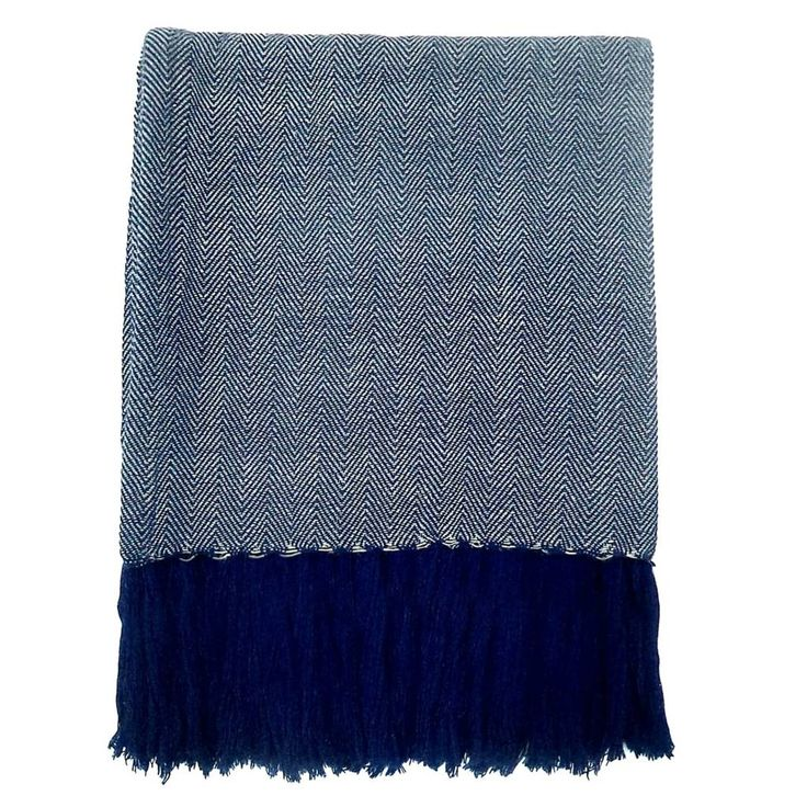 Storebror Wohndecke Chevron aus Baumwolle, blau, 170x130cm