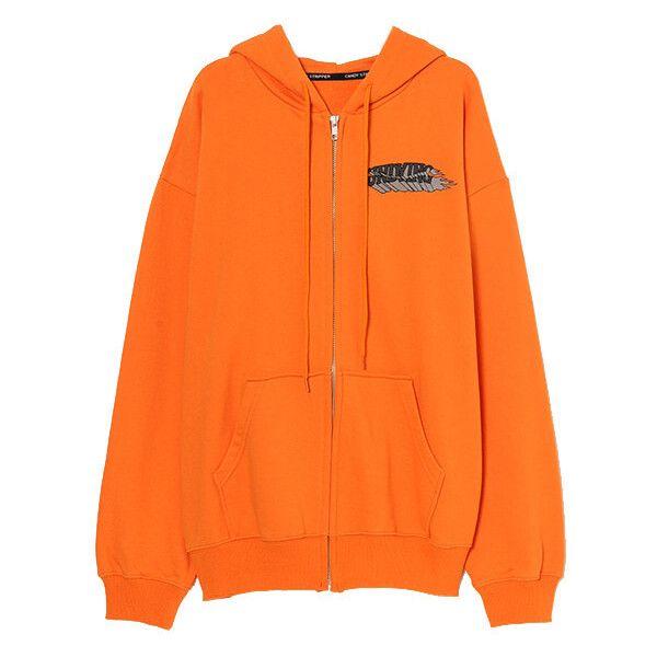 EVIL CHUM SWEAT ZIP UP HOODIE ❤ liked on Polyvore featuring tops, hoodies, orange top, orange hoodie, sweatshirt hoodies, orange zip up hoodie and orange hooded sweatshirt