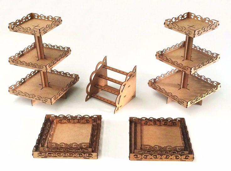 kit festa provençal decoração mdf luxo 9 peças+ cola e fita
