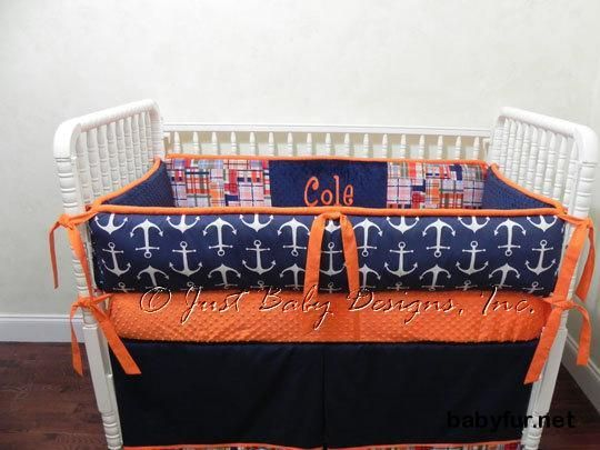 Custom Baby Bedding Set Lucian - Baby Boy Bedding, Nautical Baby Bedding, Anchor Bedding, Navy, Orange Bedding - http://babyfur.net/custom-baby-bedding-set-lucian-baby-boy-bedding-nautical-baby-bedding-anchor-bedding-navy-orange-bedding.html