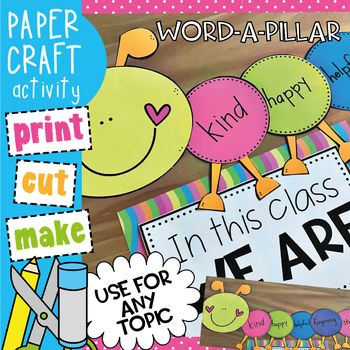 This packet will provide you with template pieces to make a cute and practical craft activity that can help foster classroom community or feature ANY topic are of learning you choose! Simple enough for your early learners, they can cut a circle to add to the caterpillar and write a word that contributes to the display!
