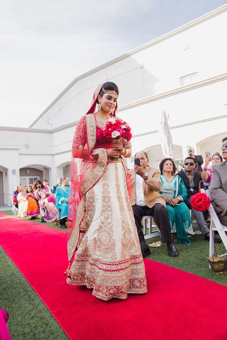 indian muslim bride | cream, gold, red lengha | Contemporary Muslim Wedding California