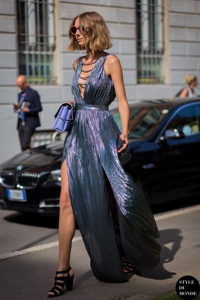 metallic dress with clutch