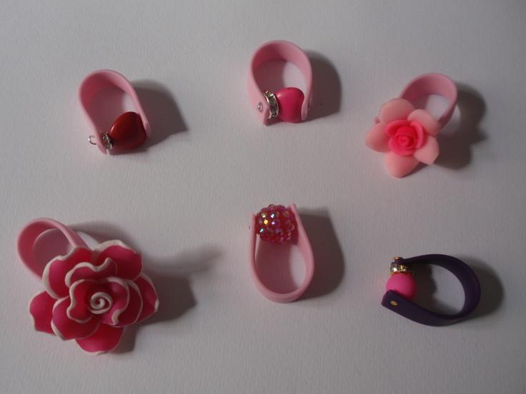 δαχτυλίδια απο καουτσούκ  ..αποχρώσεις του ροζ