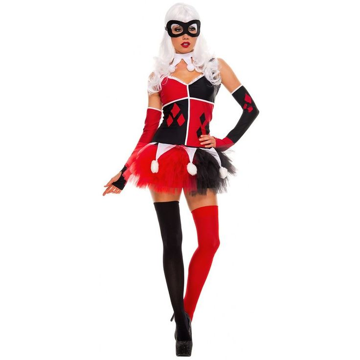 Harley Quinn Costume Adult Harlequin Halloween Fancy Dress #MusicLegs