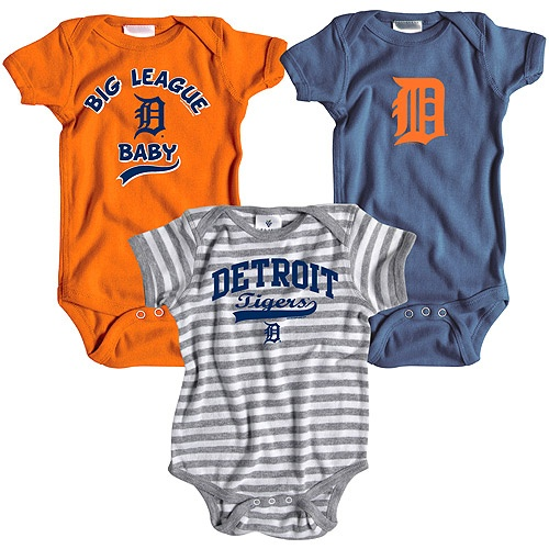 Detroit Tigers 3 Pack Boys Big League Baby Creeper Set by Soft as a Grape