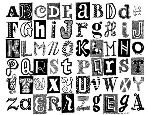 Different ways of writing alphabets letter