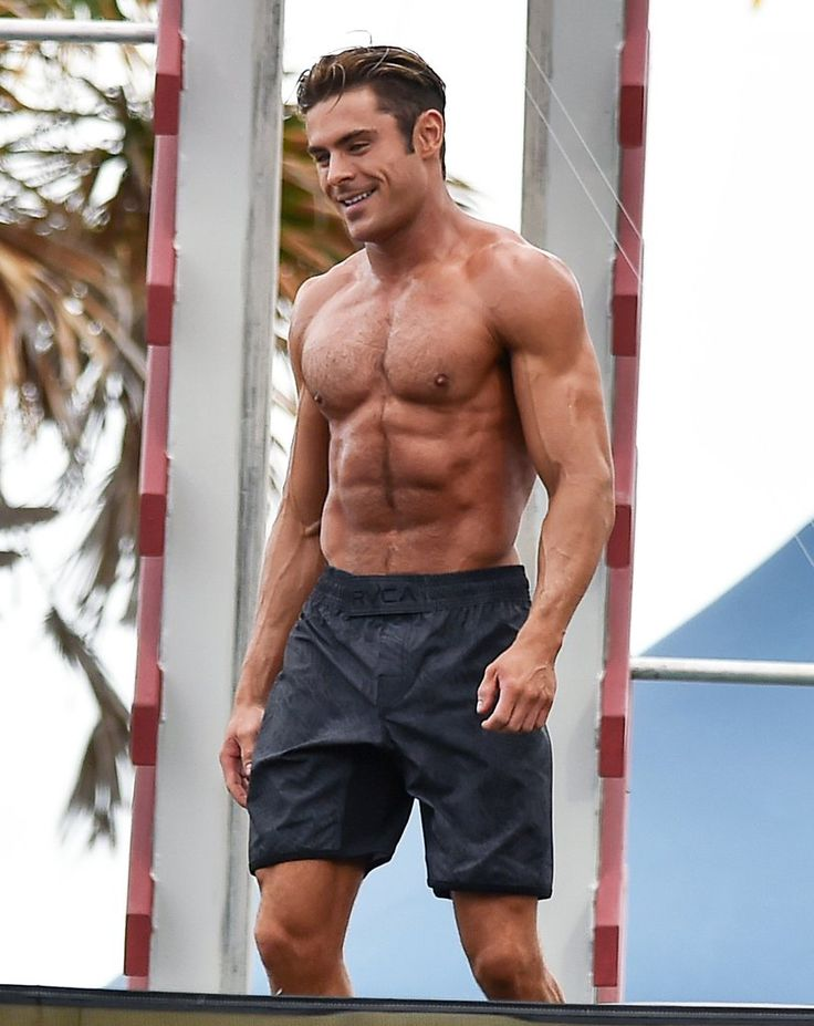 Zac showed off his toned body when he filmed Baywatch in March 2016.