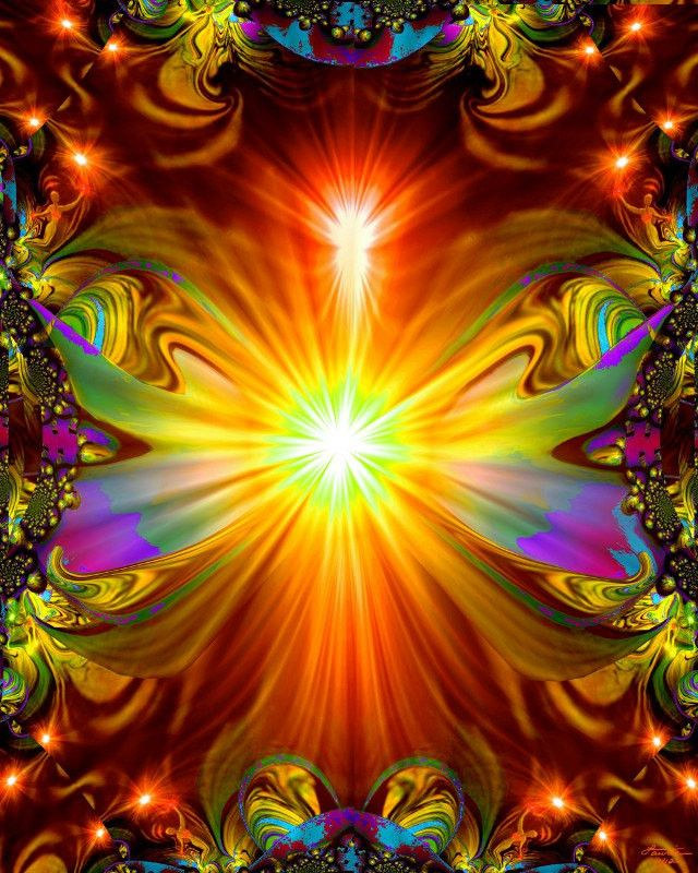 """Light Being"" is a psychedelic wall decor piece, attuned with reiki healing energy out of my chakra art line of original digital designs. This abstract art digital painting would be a beautiful additi"