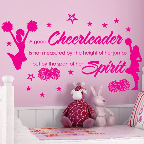 Cheer cheerleaders poms girls stars custom vinyl wall for Cheerleader wall mural