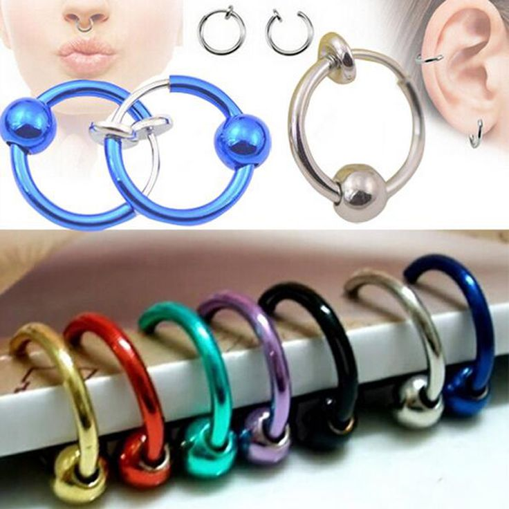 2 Pieces  Colorful Fake Nose Ring Lip Ear Clip On Fake Piercing Nose Lip Hoop Rings Earrings Golden Rose Ball body jewelry
