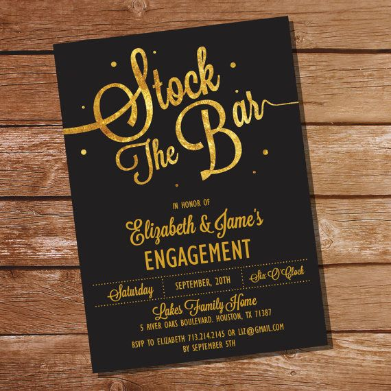 Gold Glitter Stock The Bar Engagement Party by SunshineParties