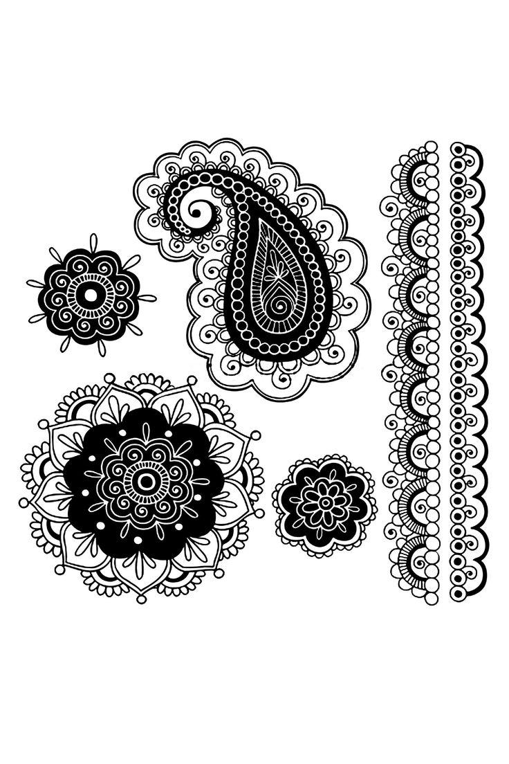 White henna design 5 five white henna designs - Hand Drawn Abstract Henna Mehndi Mandala Flowers Border Design And Paisley Doodles Vector Illustration Design Elements