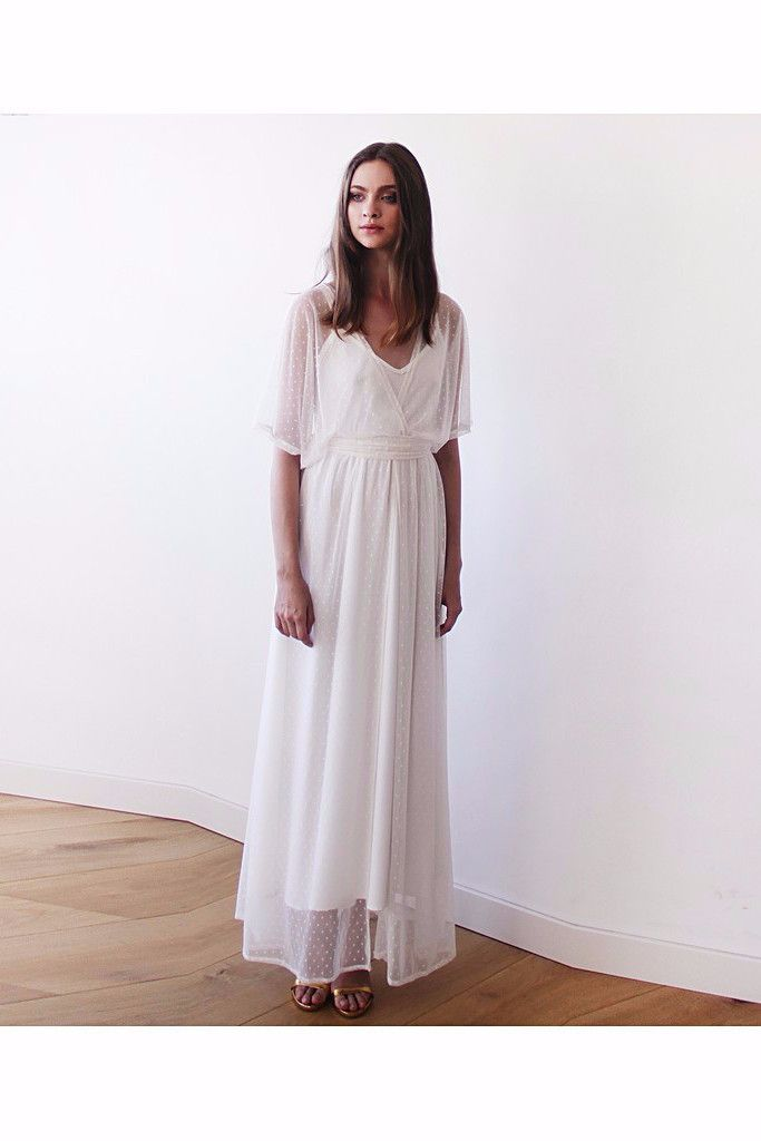 Ivory Chiffon Dots Sheer Gown, Bridal Ivory Dress With Bat Wings Sleeves, Boho Style Wedding Dress LAVELIQ