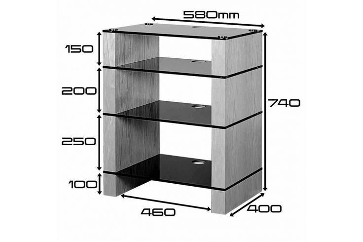 STAX 400 Four Shelf Hi-Fi Stand Dimensions Drawing, Walnut Black