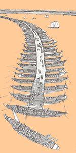 Xerxes' pontoon bridges over the Hellespont, c 480 BC