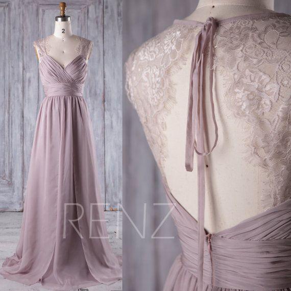 Bridesmaid Dress Rose Gray Chiffon Dress,Wedding Dress,Ruched V Neck Prom Dress,Illusion Lace Open Back Party Dress,A-Line Maxi Dress(L230A) – schnegge
