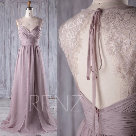 2017 Rose Gray Lace Chiffon Bridesmaid Dress by RenzRags on Etsy
