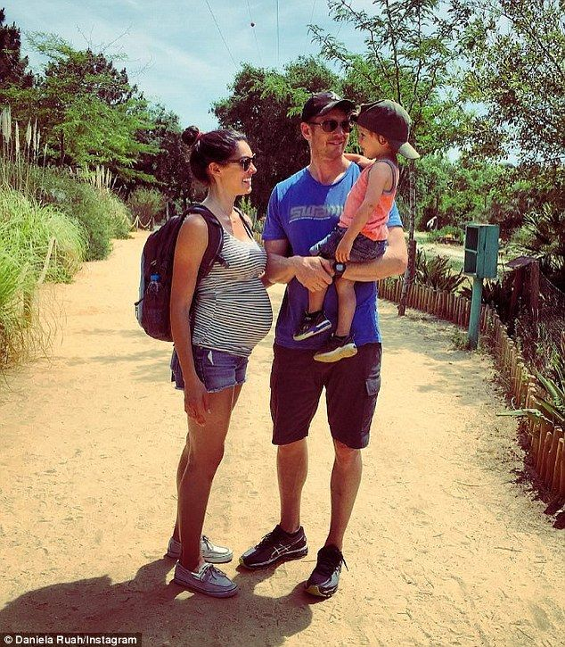 Growing family: Daneila shared a photo with husband David Olsen and their son…