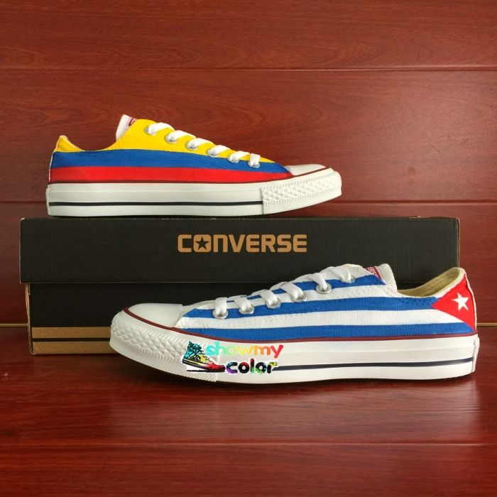 109.65$  Watch here - http://ali5we.worldwells.pw/go.php?t=32629459972 - Low Top Converse Chuck Taylor Men Women's Shoes Cuba Columbia Flag Original Design Custom Hand Painted Sneakers Gifts