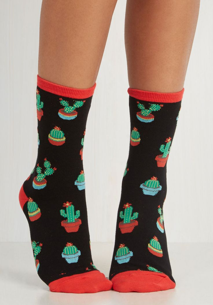 Always Room for Desert Socks. Give your ensemble a distinctive sharpness with these cacti printed socks! #blue #modcloth