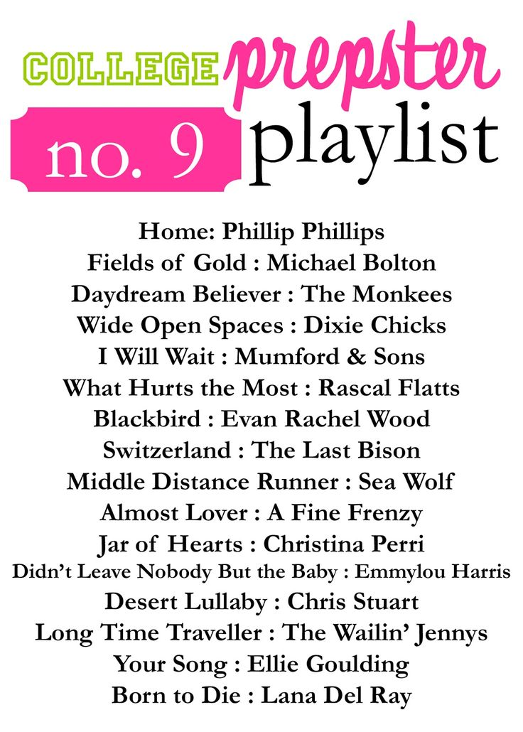 College Prepster Playlist No. 9