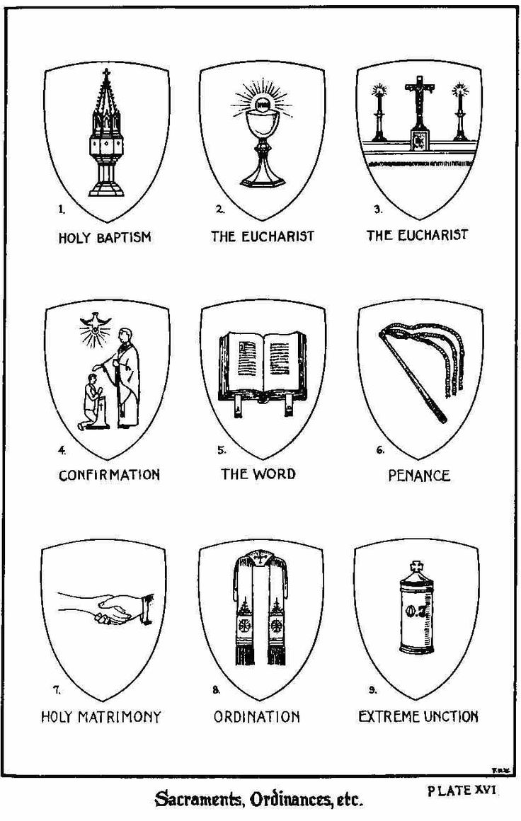 Catholic symbols for the 7 Sacraments, illust. by: Sister M.A. Justina Knapp,