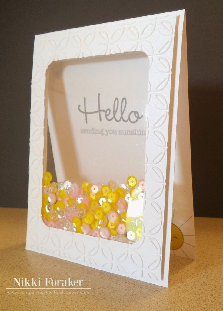 Hello shaker see-thru card by Nikki Foraker