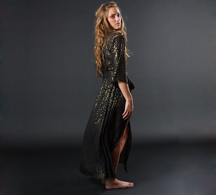 robe, dressing gown, chiffon long robe in gold leopard print  Leopard Play Black Gold Robe | Gold Print Luxury Nightwear|  Designer Loungewear Chiffon | Between the Sheets Sleepwear