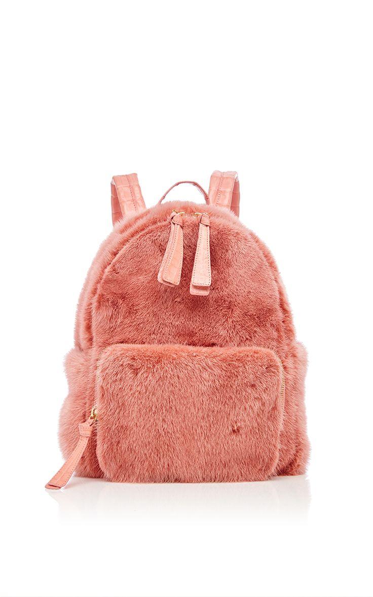 Baby Pink Mink Backpack by Nancy Gonzalez for Preorder on Moda Operandi