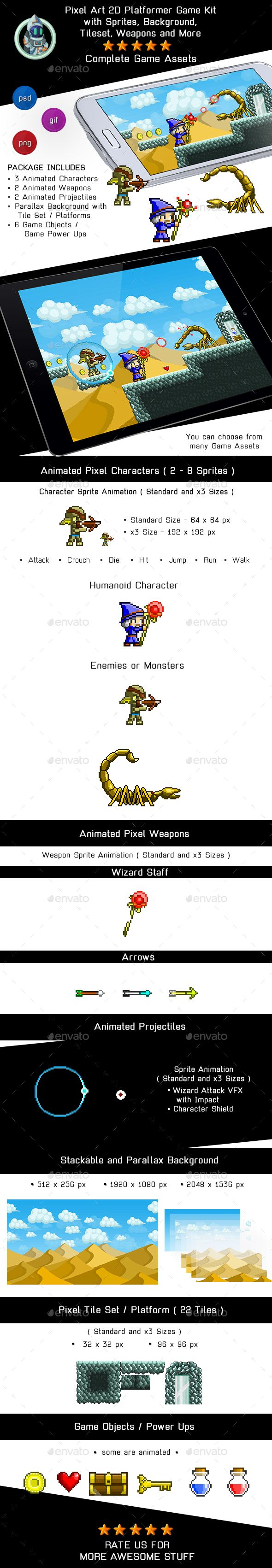 Game Assets Pixel Platformer Kit  Sprites, Background and Weapons — Photoshop PSD #game kit #game background • Available here → https://graphicriver.net/item/game-assets-pixel-platformer-kit-sprites-background-and-weapons/19258197?ref=pxcr
