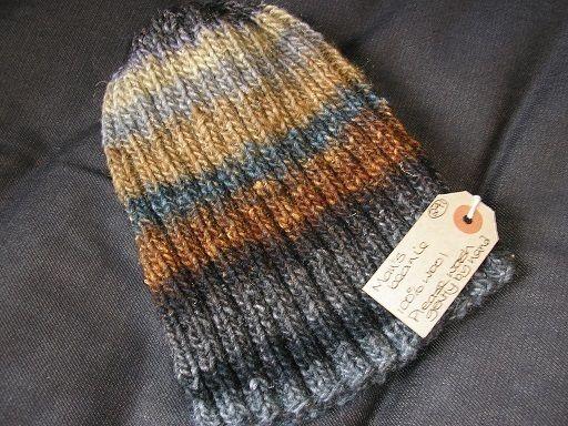 Man's ribbed beanie in luxury self-striping wool