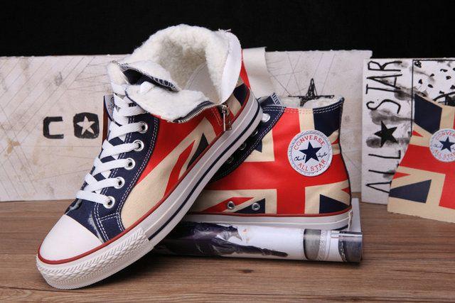 029b9d84a375a2  converse Zip British Converse UK Flag All Star Chuck Taylor Soft Nap  Inside Velvet High Tops Canvas Winter Boots